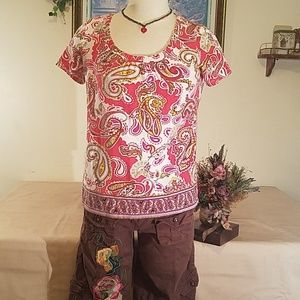 Chadwick's Paisley red Short Sleeve Small Shirt